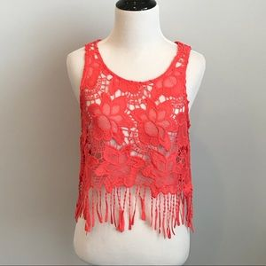 H&M x Coachella coral fringed crocheted top size 6